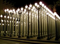 "Entitled ""Urban Light"", Burden's sculpture incorporates more than two hundred vintage Los Angeles County lamp posts"