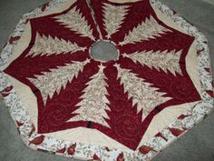 Quilted Christmas Tree Skirt 64 by ayrlooms1 on Etsy