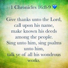 1 Chronicles 16:8-9 KJV