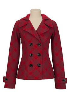 Hooded Double Button Houndstooth Coat