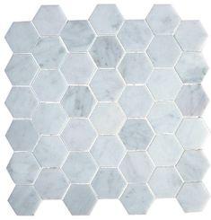 "2"" Hexagon Pattern Bianco Carrara White Marble Honed Mosaic Tile. #Honed_Mosaic_Tile #Bianco_Carrara_White_Marble #Hexagon_Pattern"