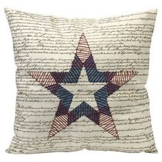 Cotton pillow with a script motif.  Product: PillowConstruction Material: 100% CottonColor: Red, white and blueFeatures:  Beautiful script typographyGreat for patriotic decorInsert included Dimensions: 18  x 17.5