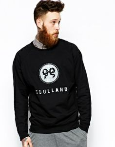 Soulland Sweatshirt with Embroidered Ribbon Logo