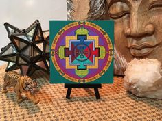 Your place to buy and sell all things handmade Mandala Print, Mandala Painting, Personal Altar, Finding Yourself, Lion Sculpture, Vibrant, Canvas Prints, Display, Statue