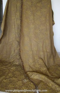 A Pair Of Fabulous Large Antique French Linen Jacquard Curtains in Milk Chocolate & Gold from www.fatiguedfrenchfinds.com priced at €200 + shipping