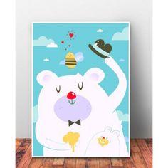 """Plakat dziecięcy """"Pan Miś Niebieska Chmurka"""". Świetnie będzie wyglądał w ramce na ścianie, czy komodzie."""