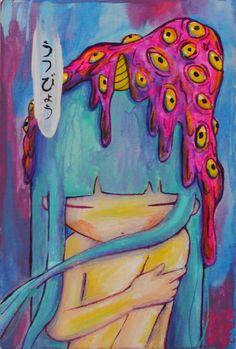 """Estás deprimido, quédate así. Espera y observa. La depresión no puede durar mucho tiempo porque en este mundo no hay nada permanente. El mundo es fluir. (cont.) Si le quitas los pilares, la depresión no se sustentará. Osho """"Depresión"""" Acrylic&canvas http://www.tatoki.net/depresion/"""