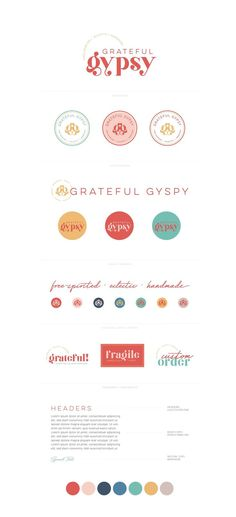 Grateful Gypsy | Free-Spirited, Eclectic, Handmade Clothing, Jewelry and Accessories | Fun, throwback, beachy and colorful logo, watermark, favicon, collateral, stickers | Branding by AllieMarie Design #alliemariedesign #branddesign #visualbrand