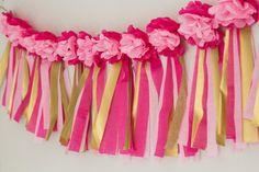 Paper Flower Garland    Tassel Garland    Hot pink, light pink, and gold on Etsy, $25.00