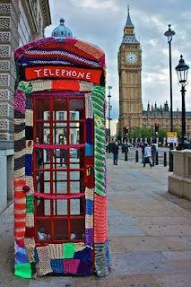 yarn bomb on phone booth