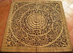 Hand carved 4ft Natural Teak Panel from Thailand.