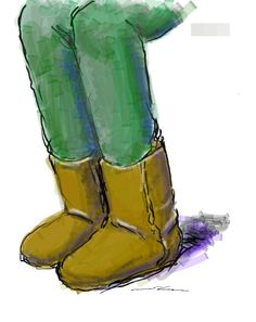 Brown boots. It is a sketch drawn by using the GALAXY Note in the commuter train.