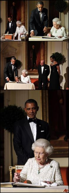 #Second Visit May 2011 #US #44thPresident #BarackObama looks on as #Britain #QueenElizabethII signs a guest book after a reciprocal dinner at the Winfield House in London, on May 25, 2011. President Obama and his wife #FirstLady #MichelleObama enjoyed a regal welcome from #PrincePhilip Duke of Edinburgh and Queen Elizabeth II, who she has met every US president but one since the 1950s #London #England #ObamaHistory #ObamaLibrary #ObamaLegacy Obama.org