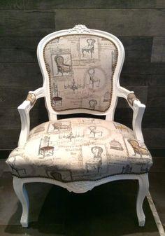 """Rue-des-Relookeurs: Fauteuil bergère """"Hôtel Perrin"""" blanc patiné tissu Vintage…"""