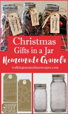 Homemade granola makes a perfect last minute Christmas gift in a jar from Walking on Sunshine.