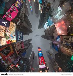 Looking from ground to sky. Times Square, New York