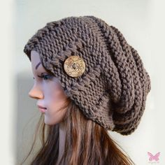 Slouchy beanie hat with button - TAUPE - Oversized - chunky - handmade - vegan friendly - baggy
