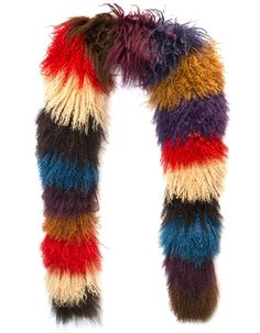 Prada Multi-Color Curly Sheep Fur Scarf | From a collection of rare vintage scarves at https://www.1stdibs.com/fashion/accessories/scarves/