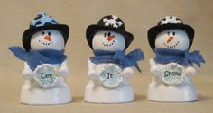 Clay Pot Snowman Trio --broken link...but cute idea. Looks like little clay pots bodies/ping pong balls for heads.