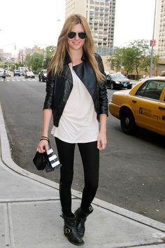 street style, leather moto jacket