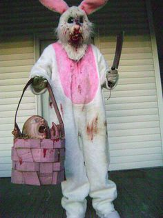Evil Easter bunny with Basket.  Easter theme.  We could not dress up regular!!