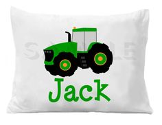 Green Tractor Personalized Pillow Case by TheTrendyButterfly,