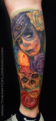 New School Green Day Of The Dead Tattoos For Women | day of the dead skull girl. Day of the Dead Girl Altar