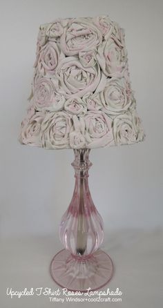 "DIY: T Shirt Roses Lampshade - Roses are made from Fabric Fusion Peel N Stick Sheets & T Shirt Strips. ""Remeber to use led-light, or make sure that the lamp doesn´t get too hot! Elegant Home Decor, Diy Home Decor, Rose Tutorial, Outdoor Light Fixtures, Outdoor Lighting, Lamp Shades, Light Decorations, Fabric Flowers, Creations"