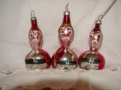 HOLIDAY SALE  Vintage Glass Blown Santa's 3 by NopalitoVintageMore, $15.00