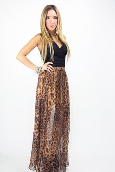 LEOPARD CHIFFON SKIRT WITH  SLITS