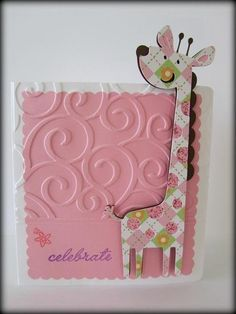 Jingvitations: Baby shower Baby Girl Pink Giraffe Invitation