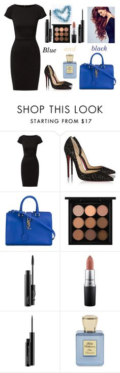 """""""Blue and black"""" by tanya-tsygankova ❤ liked on Polyvore featuring Closet, Christian Louboutin, Yves Saint Laurent, MAC Cosmetics and Bella Bellissima"""