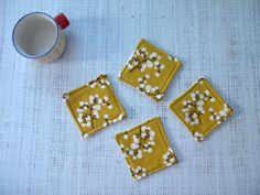NEW Fabric Coasters Vintage Berries Gold set of 4 by LiveLaughSew, $5.00