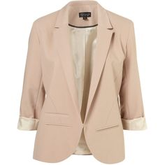 Structured blazer with rolled sleeve. No fastening. 76% Polyester,22% Viscose,2% Elastane. Dry clean only.