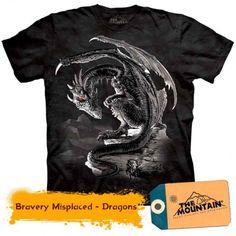 Bravery Misplaced - Dragons la doar 135,20RON Dragons, Mountain, 3d, Mens Tops, T Shirt, Tee, Kite, Kites, Tee Shirt