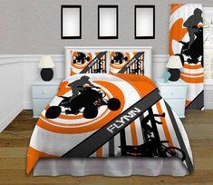 Orange Motocross Kids Bedding Gray ATV by EloquentInnovations Orange Bedding, Grey Bedding, Bedding Sets Online, Luxury Bedding Sets, Comforter Sets, King Comforter, Orange Gris, Sports Bedding, Bike Room