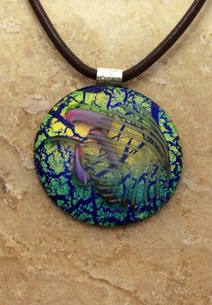 Blue Green and Gold Dichroic Glass Pendant fused by 3DGlassDesigns