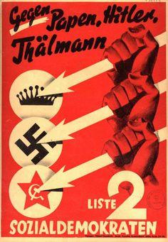 Mit diesem Plakat tritt die SPD zur Reichstagswahl 1932 an, der letzten vor der Machtergreifung Adolf Hitlers. Die Pfeile gelten den Parteien, die damals die Demokratie gefährdeten: Monarchisten unter Reichskanzler Franz von Papen, die Nationalsozialisten von Hitler und die Kommunisten unter Ernst Thälmann. | © AdsD der Friedrich-Ebert-Stiftung --- more here: http://www.zeit.de/politik/deutschland/2013-05/fs-spd-150-jahre-plakate-2