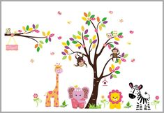 Flowery Elephant Jungle Fabric Nursery Wall Decals - Children's Wall Stickers - Baby Room Decorations