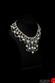 Unique handmade wedding necklace diamond necklace by Lesense