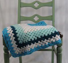 Crochet Baby Blanket Turquoise White Aqua by 13thStreetEmporium, $15.00