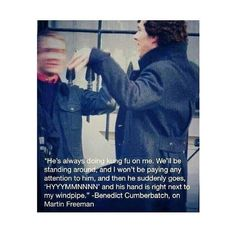 Benedict Cumberbatch on Martin Freeman. it seems to me like it would note likes be Martin Freeman on Benedict Cumberbatch Sherlock Holmes Bbc, Sherlock Fandom, Sherlock John, Funny Sherlock, Watson Sherlock, Jim Moriarty, Sherlock Quotes, Benedict And Martin, Mrs Hudson