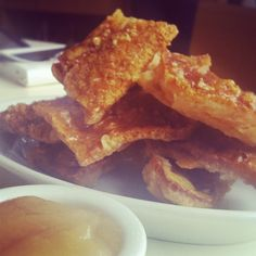 Crackling & apple sauce. £3 @ The Albion, Shoreditch. Great place for a drink or a snack. Good food in general to be honest - 2-4 Boundary St, Shoreditch,