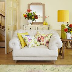 Pale yellow and floral living room | Country living room ideas | Living room | PHOTO GALLERY | Housetohome.co.uk