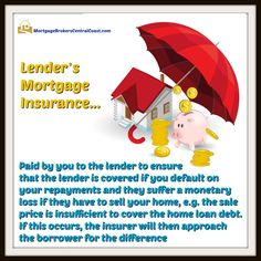 Lender's Mortgage Insurance: Paid by you to the lender to ensure that the lender is covered if you default on your repayments and they suffer a monetary loss if they have to sell your home, e.g. the sale price is insufficient to cover the home loan debt. If this occurs, the insurer will then approach the borrower for the difference