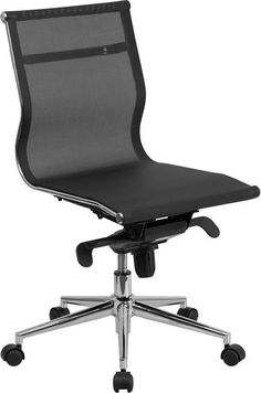 Flash Furniture BT-2768M-NA-GG Mid-Back Armless Black Mesh Executive Swivel Office Chair with Synchro-Tilt Mechanism