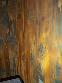 But with blue/green and copper instead! Modern Masters Iron Paint & Rust Activator at Studio 212 Hair Salon done by Claudia Jo Krumsee and Allyce Lees from The Paint Store Inc. Wall Colors, Paint Colors, Shabby Style, Tadelakt, Faux Painting, Modern Masters, Paint Effects, Wall Finishes, Wall Treatments
