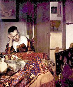Jan Vermeer: Schlafendes Mädchen Entstanden: um 1650/60 Metropolitan Museum of Art, New York Leinwand, 88 X 77 cm  Wie soll man dieses Bild einordnen - ein Interieur? Ein Stillleben? Eine Studie der Ornamente von Perserteppichen? Henri Matisse fände bestimmt Gefallen an diesem Gemälde.