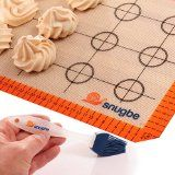 Snugbe Silicone Baking Mat & Pastry Brush 40cm x 30cm Non-Stick Re-Usable Baking Sheet;Silicone Top-Quality BPA-Free Durable; Easy To Use Wipe Wash; Evenly Bakes Tasty Bread, Cakes, Pastries & Pizza - Super Guarantee & Warranty - Buy With