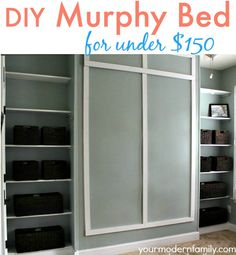 DIY Murphy bed – DIY wall bed for $150 built by my husband and my Dad… with build in shelving … win a $100 gift card! | http://www.yourmodernfamily.com/diy-wall-bed/